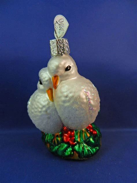 morning turtle doves bird old world christmas glass
