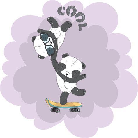 Cute little Panda on a skateboard - Download Free Vectors ...
