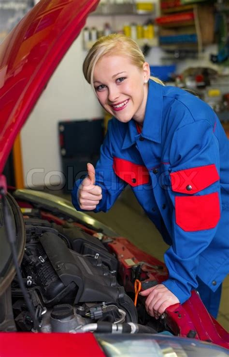 woman   mechanic  car workshop stock photo colourbox