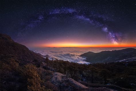 3840x2400 Cloud Landscape Milky Way Nature Night Panorama