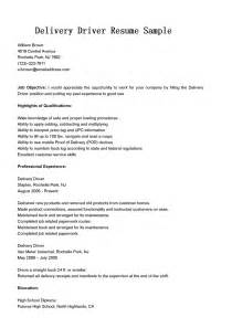 employment objective for truck driver driver resumes delivery driver resume sle