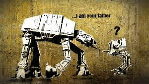 Star Wars, funny, graffiti, fantasy art, Banksy, AT-AT ...