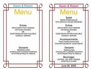 wedding menu template 5 free printable menu cards With free printable wedding menu card templates