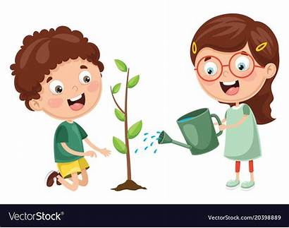 Cartoon Watering Plant Planting Plants Vectorstock Garden