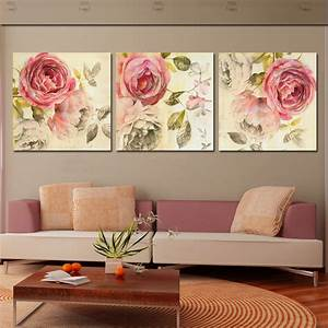 Piece wall art painting classic flower rose canvas