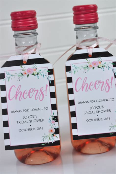 Bridal Shower Favor Tags Mini Wine Bottles Cheers