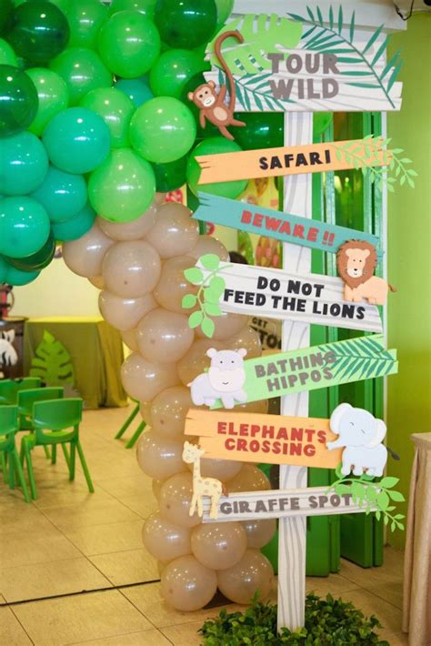 animal safari birthday party sign jungle safari party