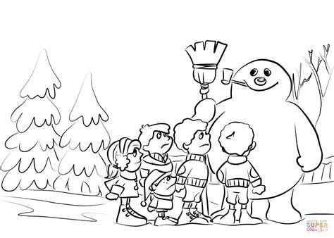 children build  snowman coloring page  printable