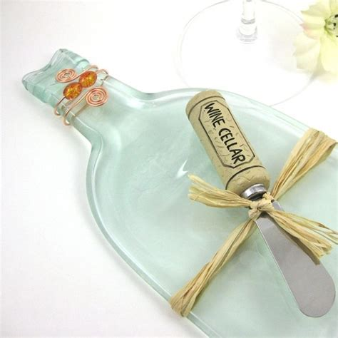 flattened wine bottle platter clear flattened wine bottle serving tray recycled and