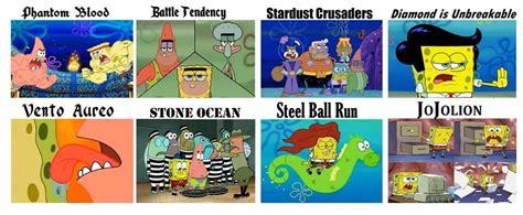 Spongebob Jojo Memes - spongebob d jojo parts descriptions jojo s bizarre adventure know your meme