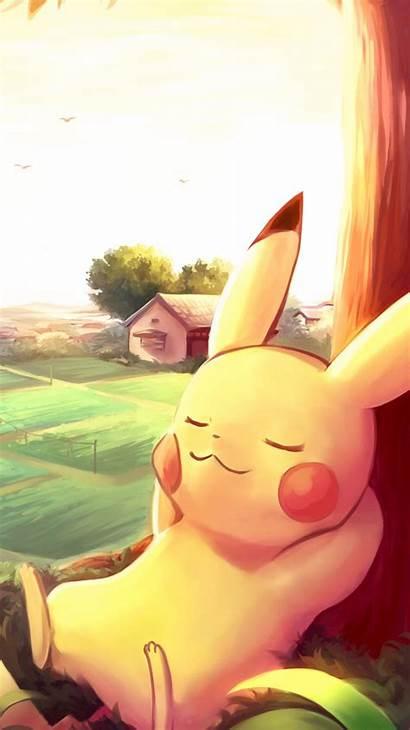 Pikachu Pokemon Iphone Pokeball Wallpapers Backgrounds Sleeping