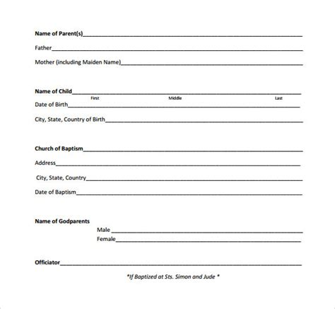 baptism certificate   samples examples format