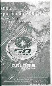 2005 Polaris Sportsman 700 Twin Efi Atv Owners Manual