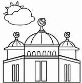 Mosque Coloring Dome sketch template