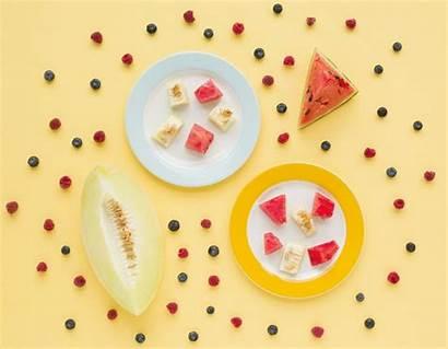 Himbeeren Gelbem Blaubeeren Hintergrund Gratis Bosbessen Meloen