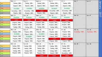 Excel Team Schedule Template Monthly