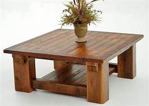 Barnwood coffee table made from solid reclaimed wood beams for Wood beam coffee table