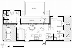 Plan Maison U : excellent plan maison 3 chambres plain pied de 110m2 ~ Melissatoandfro.com Idées de Décoration