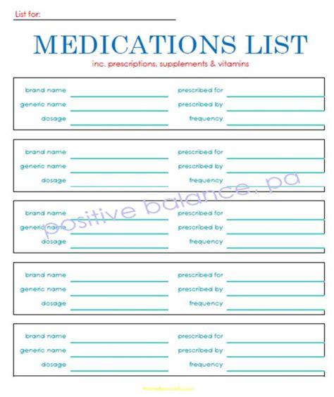 items similar  printable medication list  details