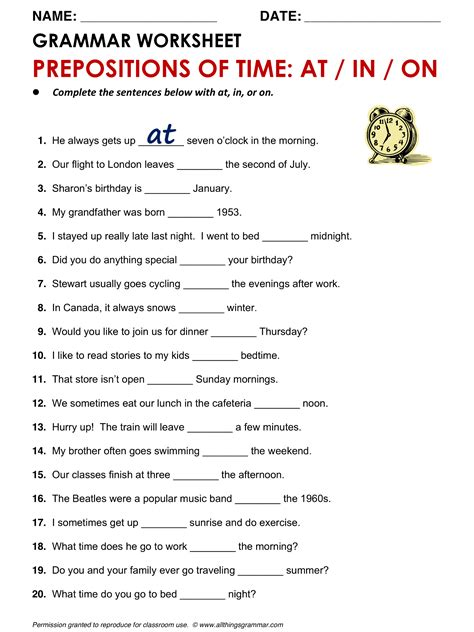 English Grammar Prepositions Of Time At, In, On Wwwallthingsgrammarcomtimeatinonhtml