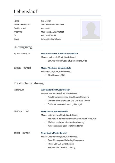 Muster Lebenslauf Für Bewerbung by Bewerbungsschreiben Muster Bewerbungsschreiben