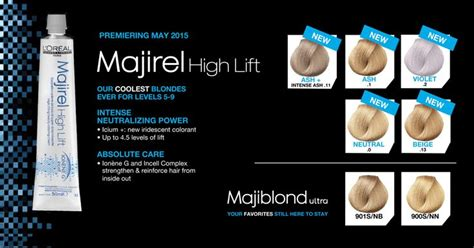 loreal professionnel majirel high lift   shades