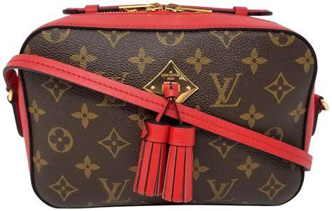 louis vuitton saintonge monogram red tassel brown canvas cross body bag tradesy