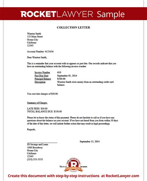 collection letter sample collection letter template