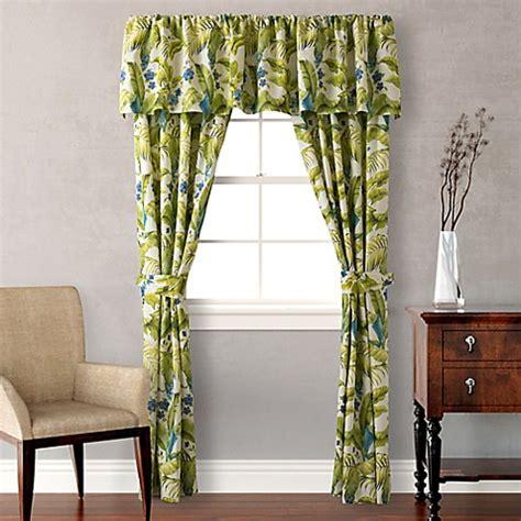 Bahama Drapes - bahama 174 blue palm window curtain panels and valance