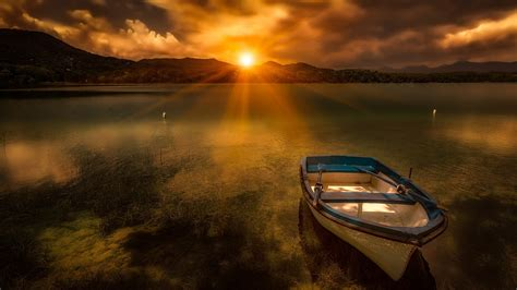Boat Background Hd by Morning Sun Lake Boat Evaporation Fog Hd Wallpaper