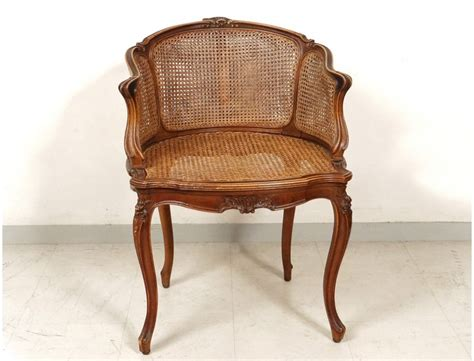office chair caned louis xv carved walnut shells flowers nineteenth century antiques de laval