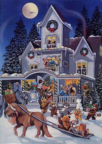 Make yourself or your loved ones happy with holiday cards. 1985 Christmas Card (Droids and Ewoks Party by Ralph McQuarrie) - Star Wars Collectors Archive