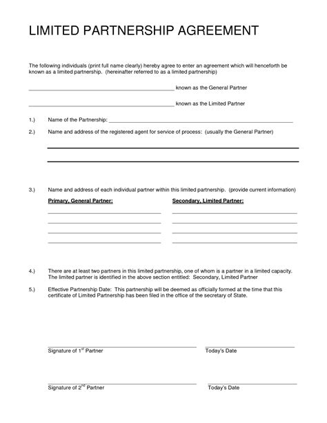 partnership agreement sample  printable documents