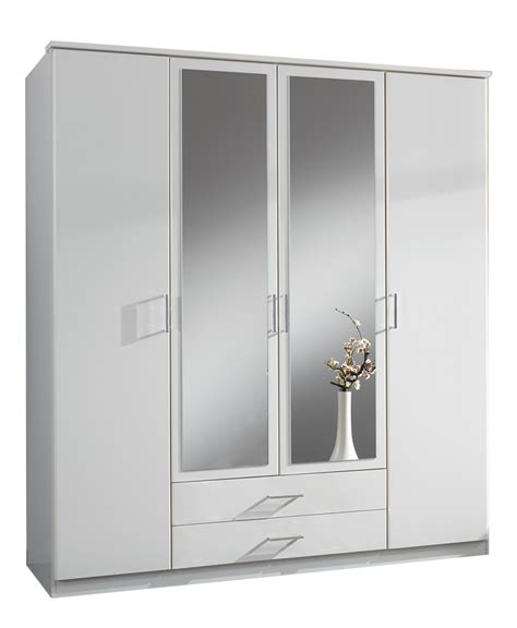 Two Door Wardrobes For Sale by Large 4 Door White Mirrored Wardrobe Sale At Furniturefactor