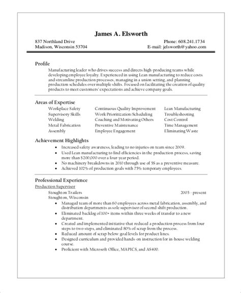 production supervisor resume sle resume cv cover letter