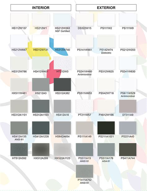 protech oxyplast powder coatings color charts