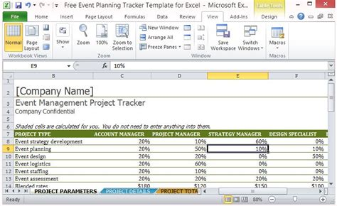event planning tracker template  excel