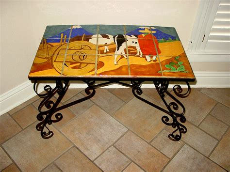 san jose pottery scenic tile table 107 vintage