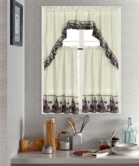 wine printed kitchen curtain set complete tier swag set