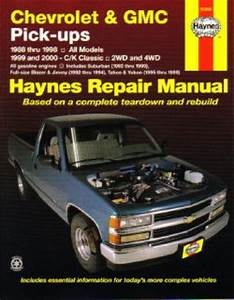Haynes Chevrolet Gmc Pickup Trucks 1988