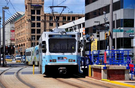 maryland light rail baltimore md mta light rail editorial photo