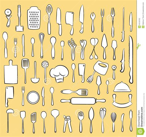 kitchen utensil collection stock vector illustration