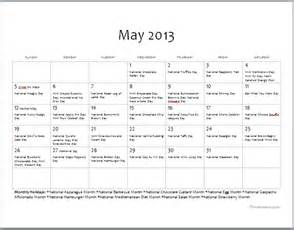 may food holidays free printable calendar the dinner