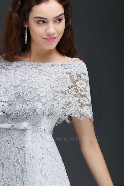 alexis    shoulder tea length lace homecoming