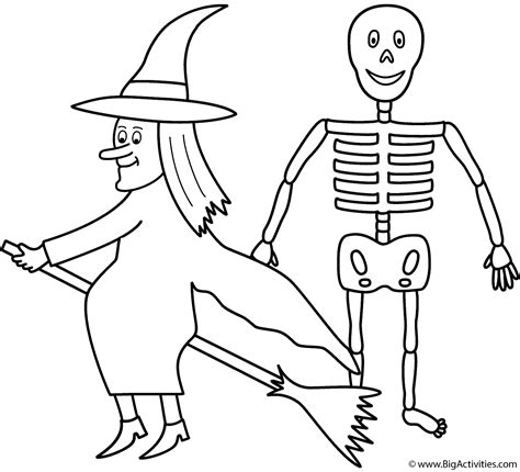 witch  skeleton coloring page halloween