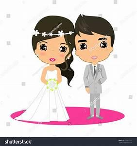 Vector Cartoon Bride Groom Married Stock Vector 251417512 ...