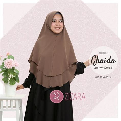 khimar zizara ghaida brown green hijab kerudung khimar