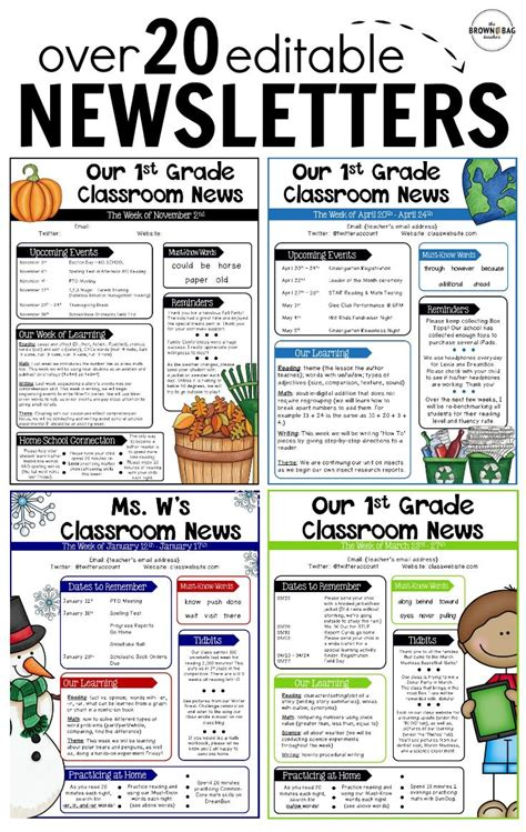 editable newsletter template 234 best back to school images on grade 1 2nd grade math and back to school