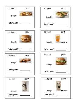 mcdonalds menu math  lifeskills connections   ng