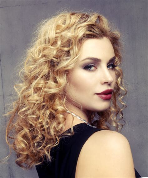 Hair Curly Hairstyles by Medium Curly Formal Hairstyle Golden Hair Color